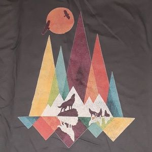 Wolves Mountains & Moon Custom Printed Graphic Tee